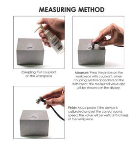 Ultrasonic thickness gauge measuring method.
